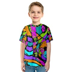 Abstract Art Squiggly Loops Multicolored Kids  Sport Mesh Tee