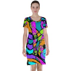 Abstract Art Squiggly Loops Multicolored Short Sleeve Nightdress