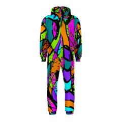 Abstract Art Squiggly Loops Multicolored Hooded Jumpsuit (kids)