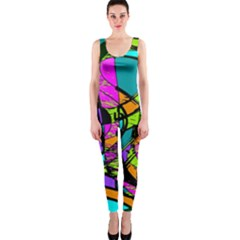 Abstract Art Squiggly Loops Multicolored Onepiece Catsuit