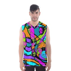 Abstract Art Squiggly Loops Multicolored Men s Basketball Tank Top