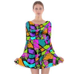 Abstract Art Squiggly Loops Multicolored Long Sleeve Skater Dress