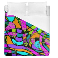 Abstract Art Squiggly Loops Multicolored Duvet Cover (queen Size)