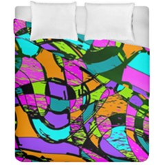 Abstract Art Squiggly Loops Multicolored Duvet Cover Double Side (california King Size)