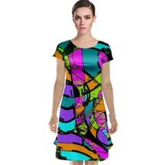 Abstract Art Squiggly Loops Multicolored Cap Sleeve Nightdress