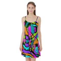 Abstract Art Squiggly Loops Multicolored Satin Night Slip