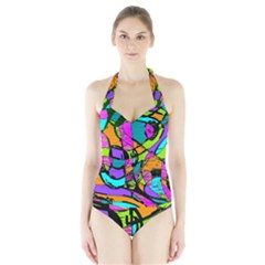 Abstract Art Squiggly Loops Multicolored Halter Swimsuit