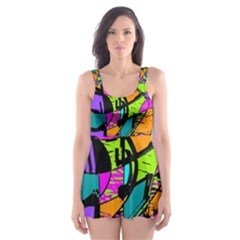 Abstract Art Squiggly Loops Multicolored Skater Dress Swimsuit