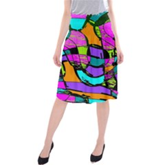 Abstract Art Squiggly Loops Multicolored Midi Beach Skirt