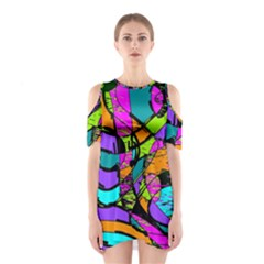 Abstract Art Squiggly Loops Multicolored Shoulder Cutout One Piece