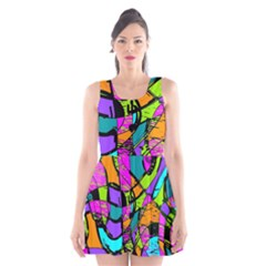Abstract Art Squiggly Loops Multicolored Scoop Neck Skater Dress