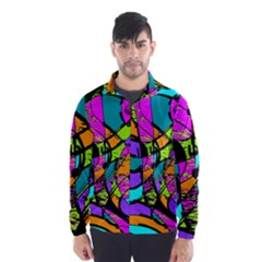 Abstract Art Squiggly Loops Multicolored Wind Breaker (men)