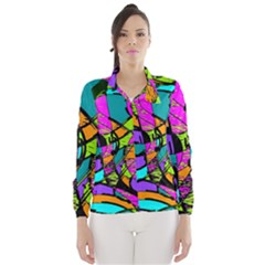 Abstract Art Squiggly Loops Multicolored Wind Breaker (women)