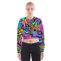 Abstract Art Squiggly Loops Multicolored Women s Cropped Sweatshirt
