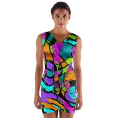 Abstract Art Squiggly Loops Multicolored Wrap Front Bodycon Dress