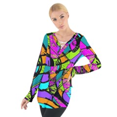 Abstract Art Squiggly Loops Multicolored Women s Tie Up Tee