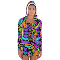 Abstract Art Squiggly Loops Multicolored Women s Long Sleeve Hooded T Shirt
