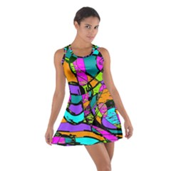 Abstract Art Squiggly Loops Multicolored Cotton Racerback Dress