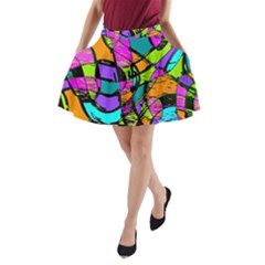 Abstract Art Squiggly Loops Multicolored A Line Pocket Skirt
