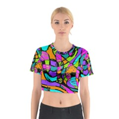 Abstract Art Squiggly Loops Multicolored Cotton Crop Top