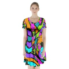 Abstract Art Squiggly Loops Multicolored Short Sleeve V-neck Flare Dress