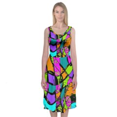 Abstract Art Squiggly Loops Multicolored Midi Sleeveless Dress