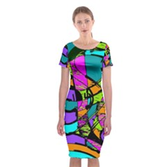 Abstract Art Squiggly Loops Multicolored Classic Short Sleeve Midi Dress