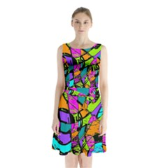 Abstract Art Squiggly Loops Multicolored Sleeveless Chiffon Waist Tie Dress