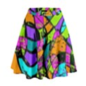 Abstract Art Squiggly Loops Multicolored High Waist Skirt View1