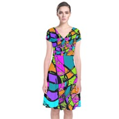 Abstract Art Squiggly Loops Multicolored Short Sleeve Front Wrap Dress