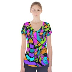 Abstract Art Squiggly Loops Multicolored Short Sleeve Front Detail Top