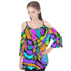 Abstract Art Squiggly Loops Multicolored Flutter Tees