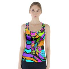 Abstract Art Squiggly Loops Multicolored Racer Back Sports Top