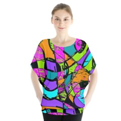 Abstract Art Squiggly Loops Multicolored Blouse