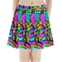 Abstract Art Squiggly Loops Multicolored Pleated Mini Skirt View1