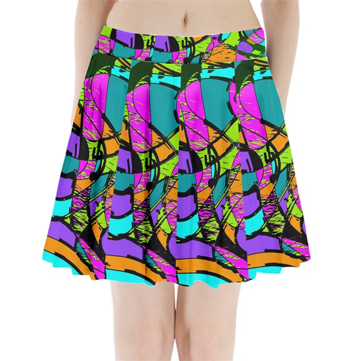 Abstract Art Squiggly Loops Multicolored Pleated Mini Skirt
