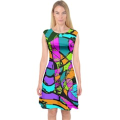 Abstract Art Squiggly Loops Multicolored Capsleeve Midi Dress