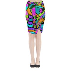 Abstract Art Squiggly Loops Multicolored Midi Wrap Pencil Skirt