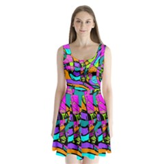 Abstract Art Squiggly Loops Multicolored Split Back Mini Dress