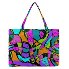 Abstract Art Squiggly Loops Multicolored Medium Zipper Tote Bag