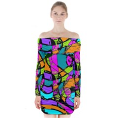 Abstract Art Squiggly Loops Multicolored Long Sleeve Off Shoulder Dress