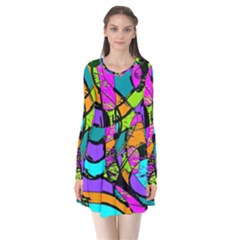 Abstract Art Squiggly Loops Multicolored Flare Dress