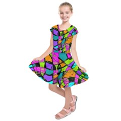 Abstract Art Squiggly Loops Multicolored Kids  Short Sleeve Dress