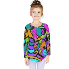 Abstract Art Squiggly Loops Multicolored Kids  Long Sleeve Tee