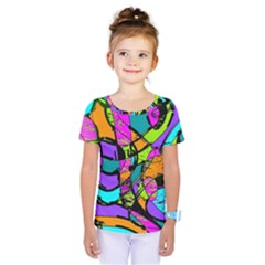 Abstract Art Squiggly Loops Multicolored Kids  One Piece Tee