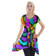 Abstract Art Squiggly Loops Multicolored Short Sleeve Side Drop Tunic