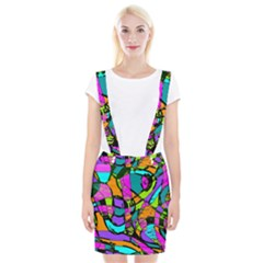 Abstract Art Squiggly Loops Multicolored Suspender Skirt