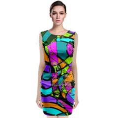 Abstract Art Squiggly Loops Multicolored Sleeveless Velvet Midi Dress