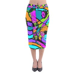 Abstract Art Squiggly Loops Multicolored Velvet Midi Pencil Skirt