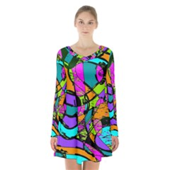 Abstract Art Squiggly Loops Multicolored Long Sleeve Velvet V Neck Dress